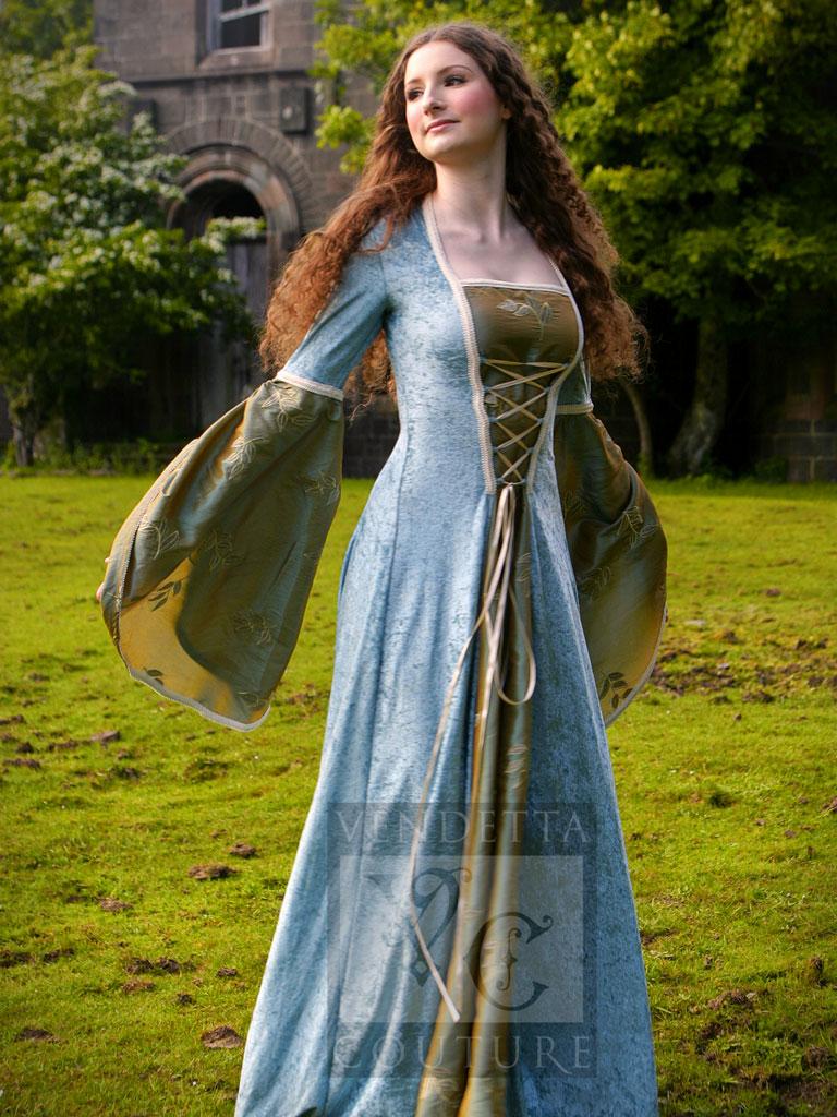 Medieval dress dark red ivory for Medieval style wedding dress