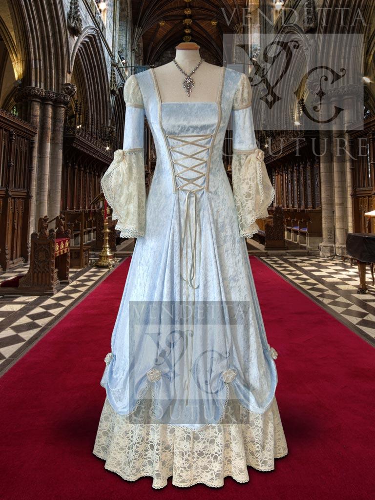 Medieval Style Wedding Dress Blue Ivory